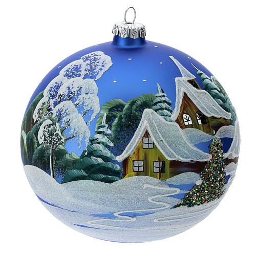 STOCK Bola vidrio soplado 150 mm azul decoración paisaje nevado 3