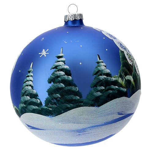 STOCK Bola vidrio soplado 150 mm azul decoración paisaje nevado 4