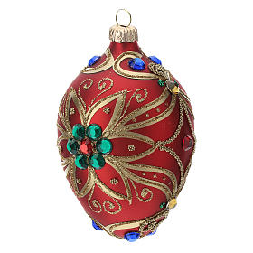 STOCK Adorno gota vidrio 80 mm rojo decoración flor dorado s2