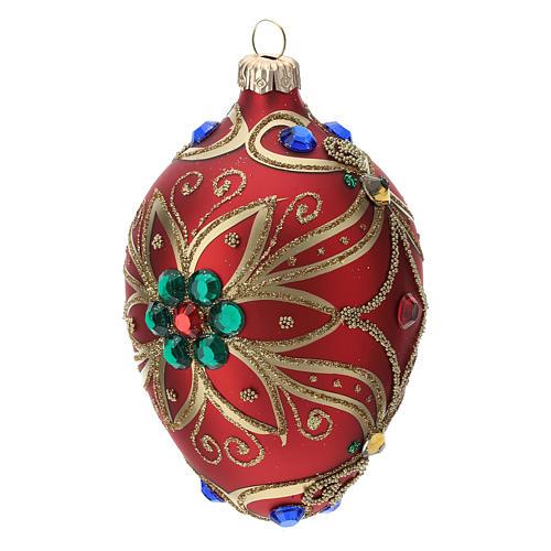 STOCK Adorno gota vidrio 80 mm rojo decoración flor dorado 2
