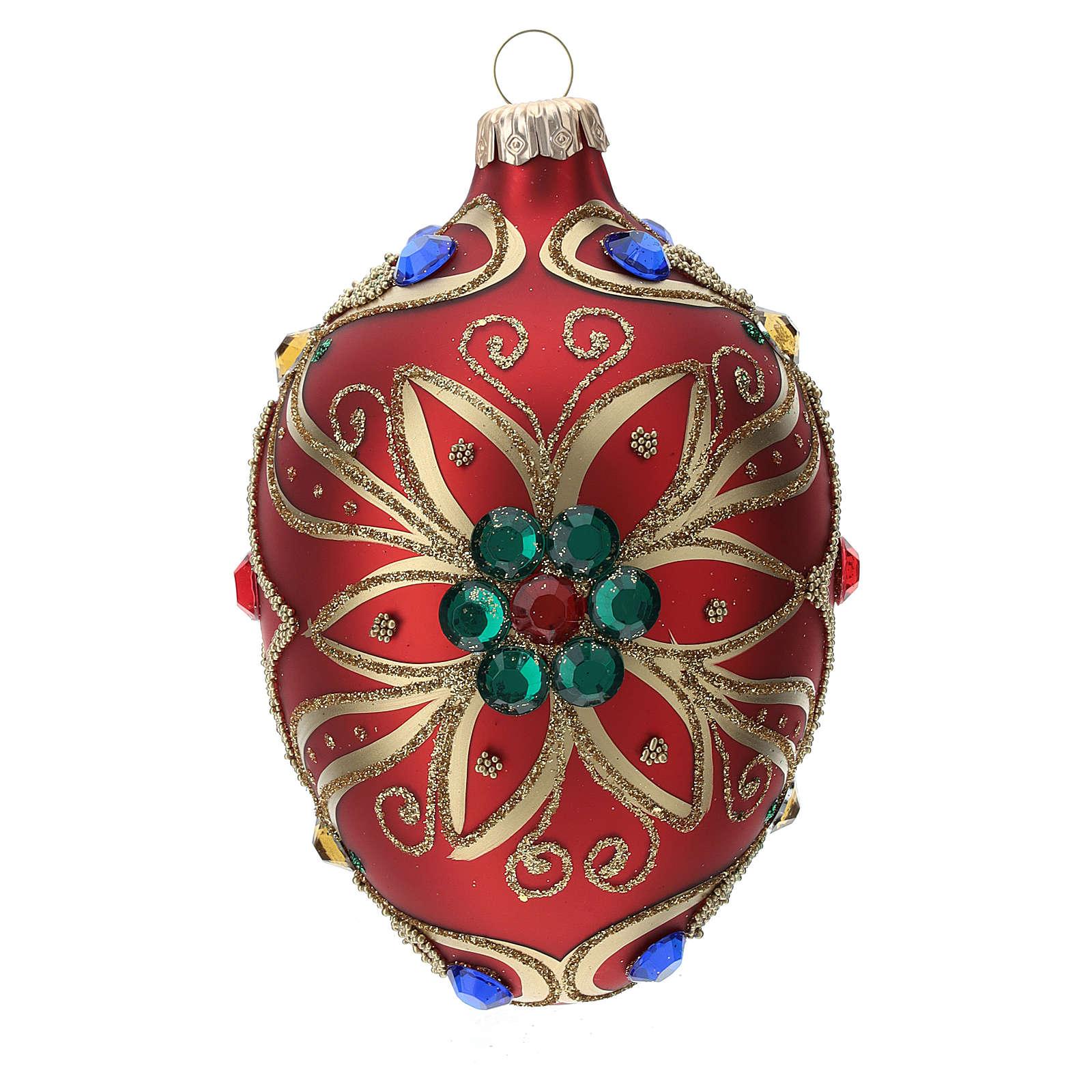 STOCK Addobbo goccia vetro 80 mm rosso decorazione fiore dorato 4