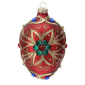 STOCK Addobbo goccia vetro 80 mm rosso decorazione fiore dorato s1