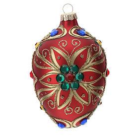 STOCK Addobbo goccia vetro 80 mm rosso decorazione fiore dorato s3