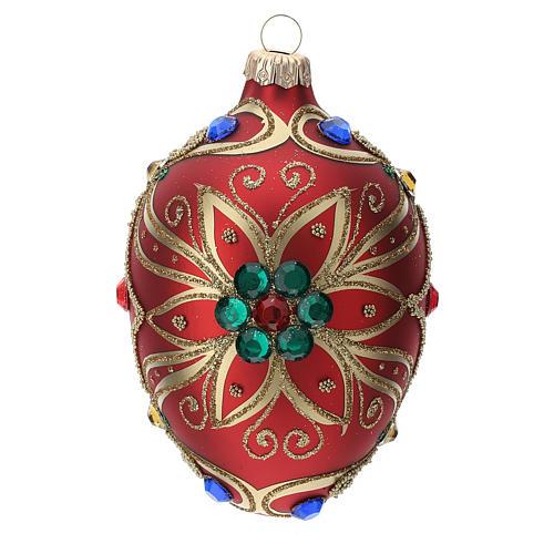STOCK Addobbo goccia vetro 80 mm rosso decorazione fiore dorato 1