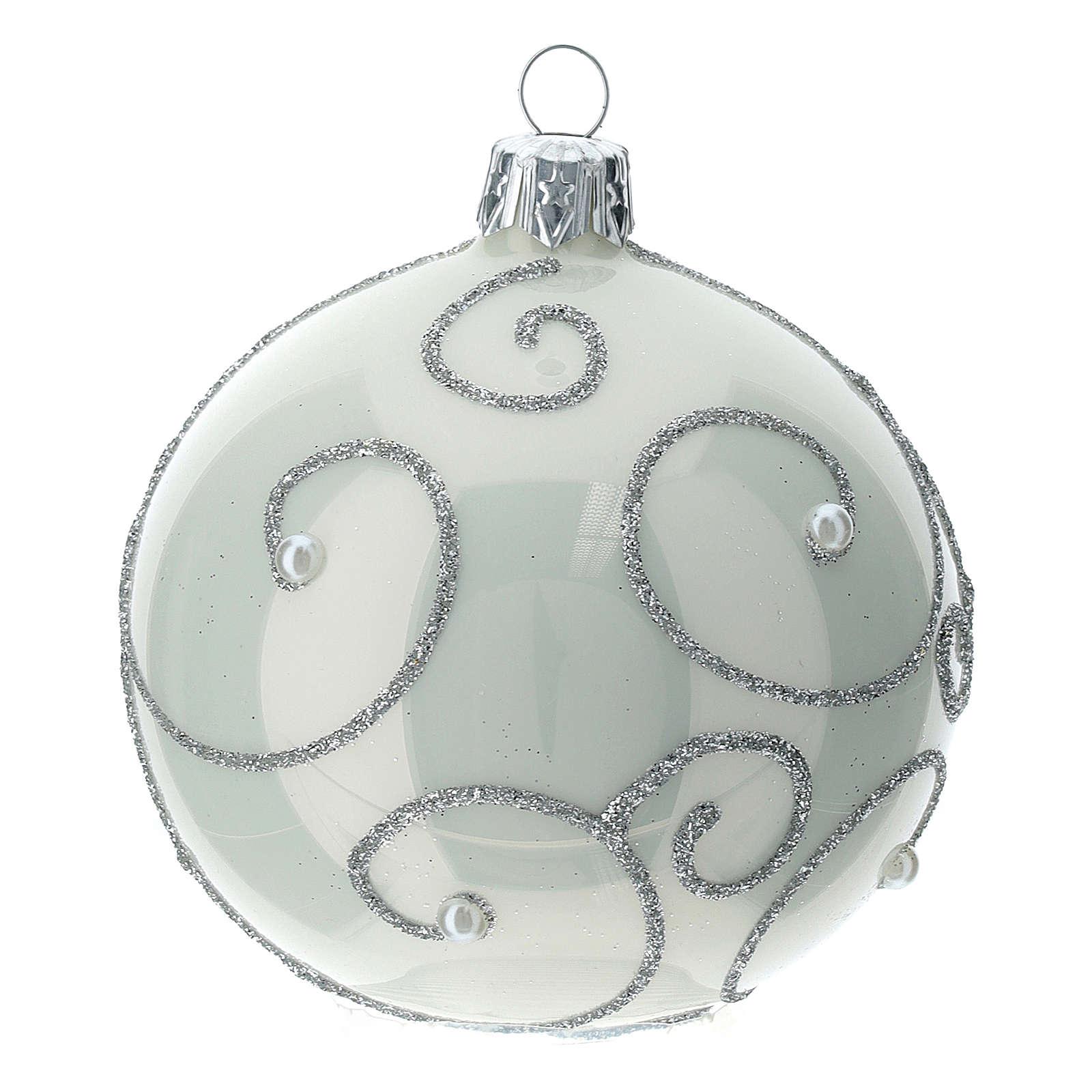 STOCK Palle Albero di Natale vetro bianco decoro argento 80 mm 6 pz 4