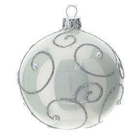 STOCK Palle Albero di Natale vetro bianco decoro argento 80 mm 6 pz s1
