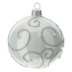 STOCK Palle Albero di Natale vetro bianco decoro argento 80 mm 6 pz s3