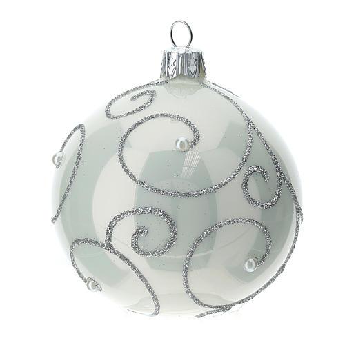 STOCK Palle Albero di Natale vetro bianco decoro argento 80 mm 6 pz 2