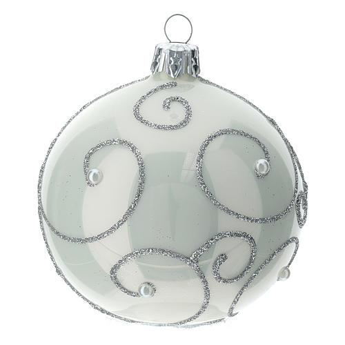 STOCK Palle Albero di Natale vetro bianco decoro argento 80 mm 6 pz 3