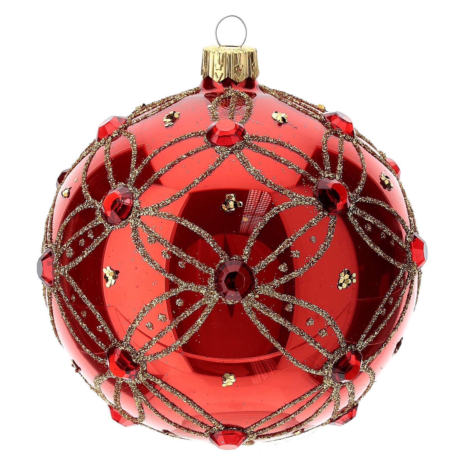 STOCK Boule verre 100 mm rouge avec pierres rouges décoration dorée 4