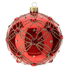 STOCK Boule verre 100 mm rouge avec pierres rouges décoration dorée s3