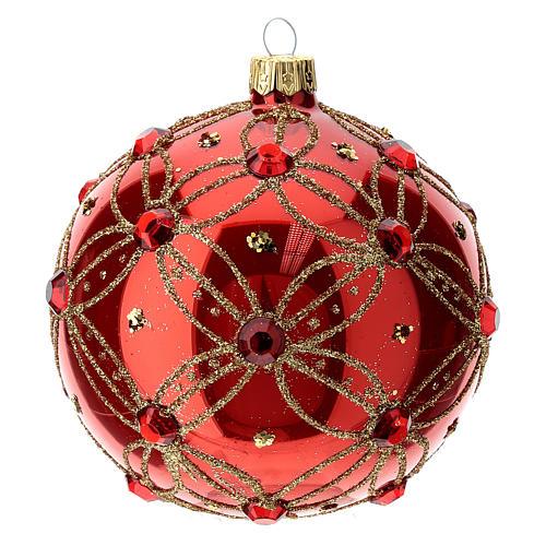 STOCK Boule verre 100 mm rouge avec pierres rouges décoration dorée 1