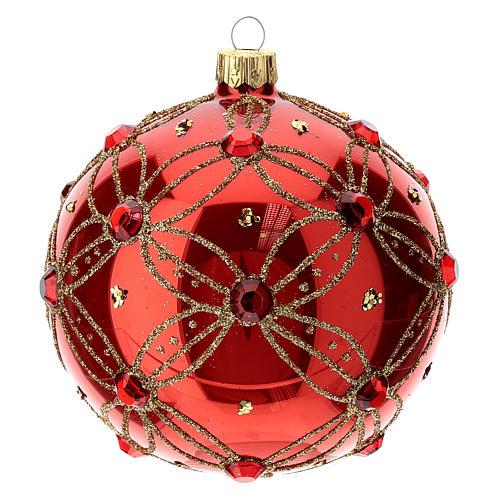 STOCK Boule verre 100 mm rouge avec pierres rouges décoration dorée 3