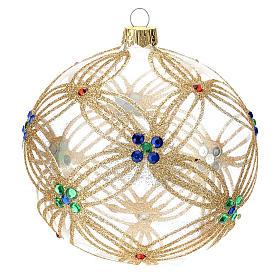 STOCK Boule Sapin Noël 100 mm verre soufflé transparent perles multicolores s1