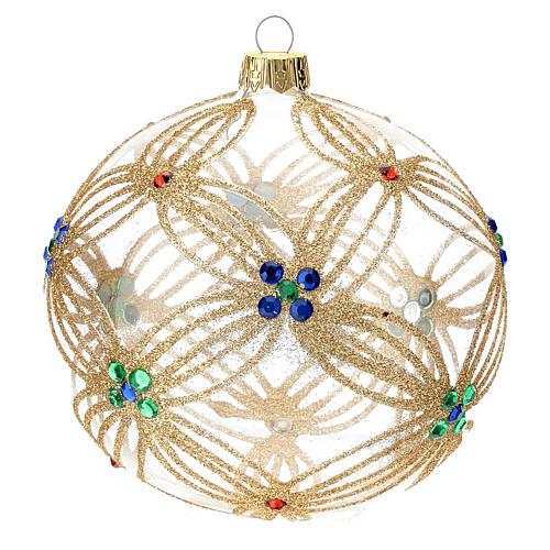 STOCK Boule Sapin Noël 100 mm verre soufflé transparent perles multicolores 1