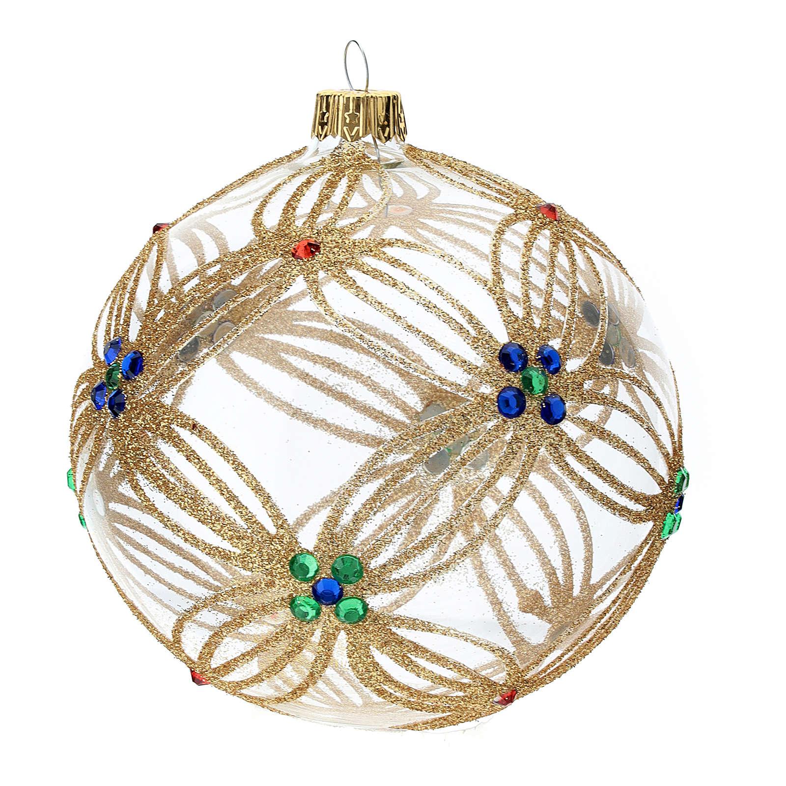 STOCK Palla Albero Natale 100 mm vetro soffiato trasparente perline multicolor 4