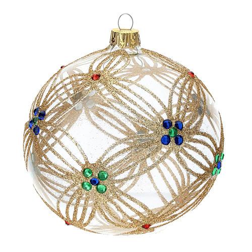STOCK Palla Albero Natale 100 mm vetro soffiato trasparente perline multicolor 3