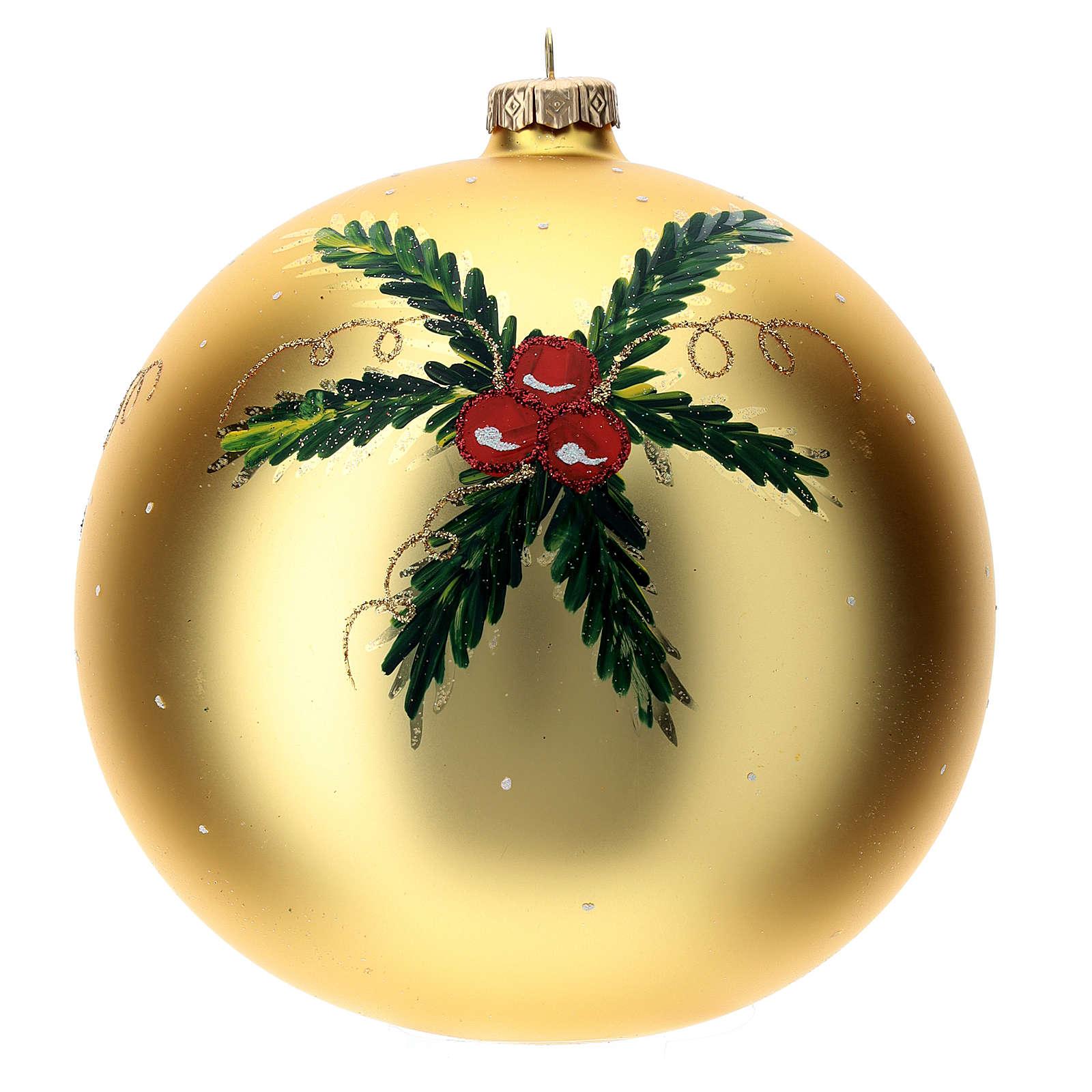 STOCK Bola vidrio soplado 150 mm amarilla decoración papá Noel 4