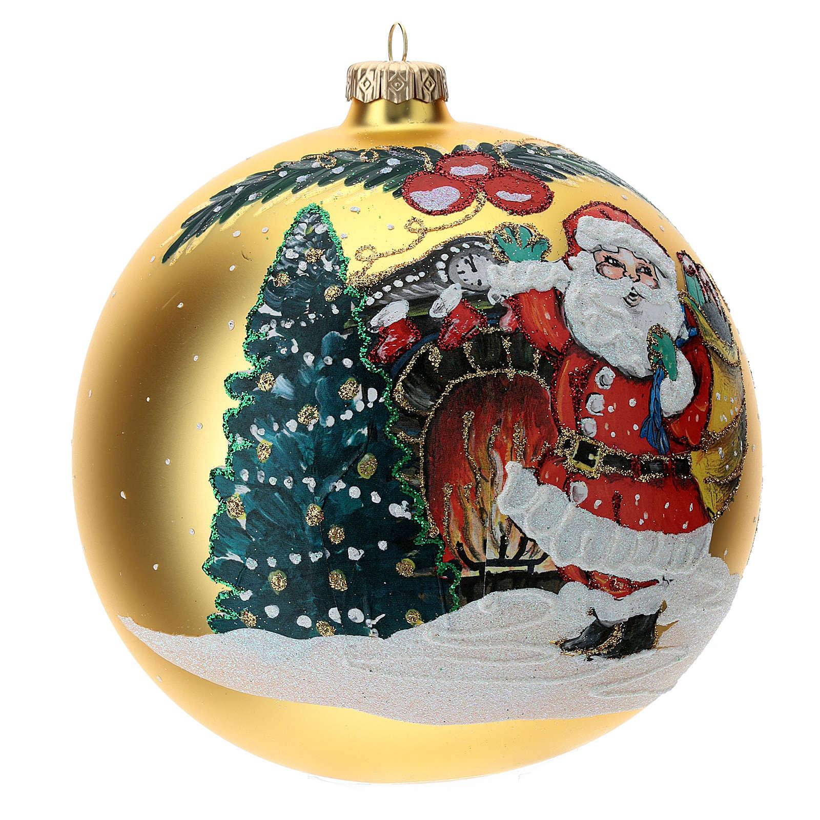 STOCK Pallina vetro soffiato 150 mm gialla decoro babbo Natale 4