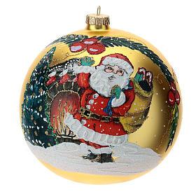 STOCK Pallina vetro soffiato 150 mm gialla decoro babbo Natale s1