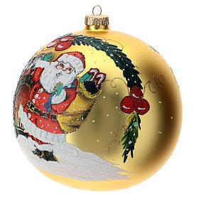 STOCK Pallina vetro soffiato 150 mm gialla decoro babbo Natale s2