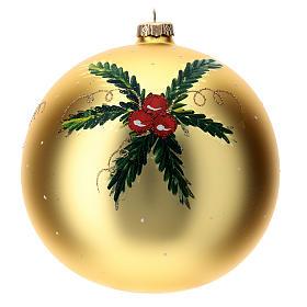 STOCK Pallina vetro soffiato 150 mm gialla decoro babbo Natale s4