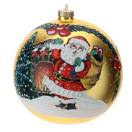 STOCK Pallina vetro soffiato 150 mm gialla decoro babbo Natale 1