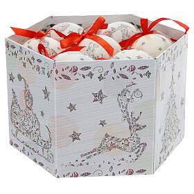 Bola para árbol Navidad 75 mm blanca motivo floral (surtida) s2