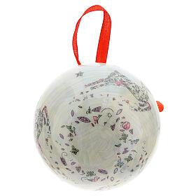 Bola para árbol Navidad 75 mm blanca motivo floral (surtida) s5