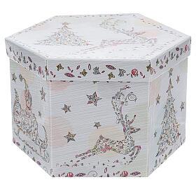 Bola para árbol Navidad 75 mm blanca motivo floral (surtida) s7