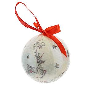 Pallina per albero Natale 75 mm bianca decoro floreale (assortita) s3