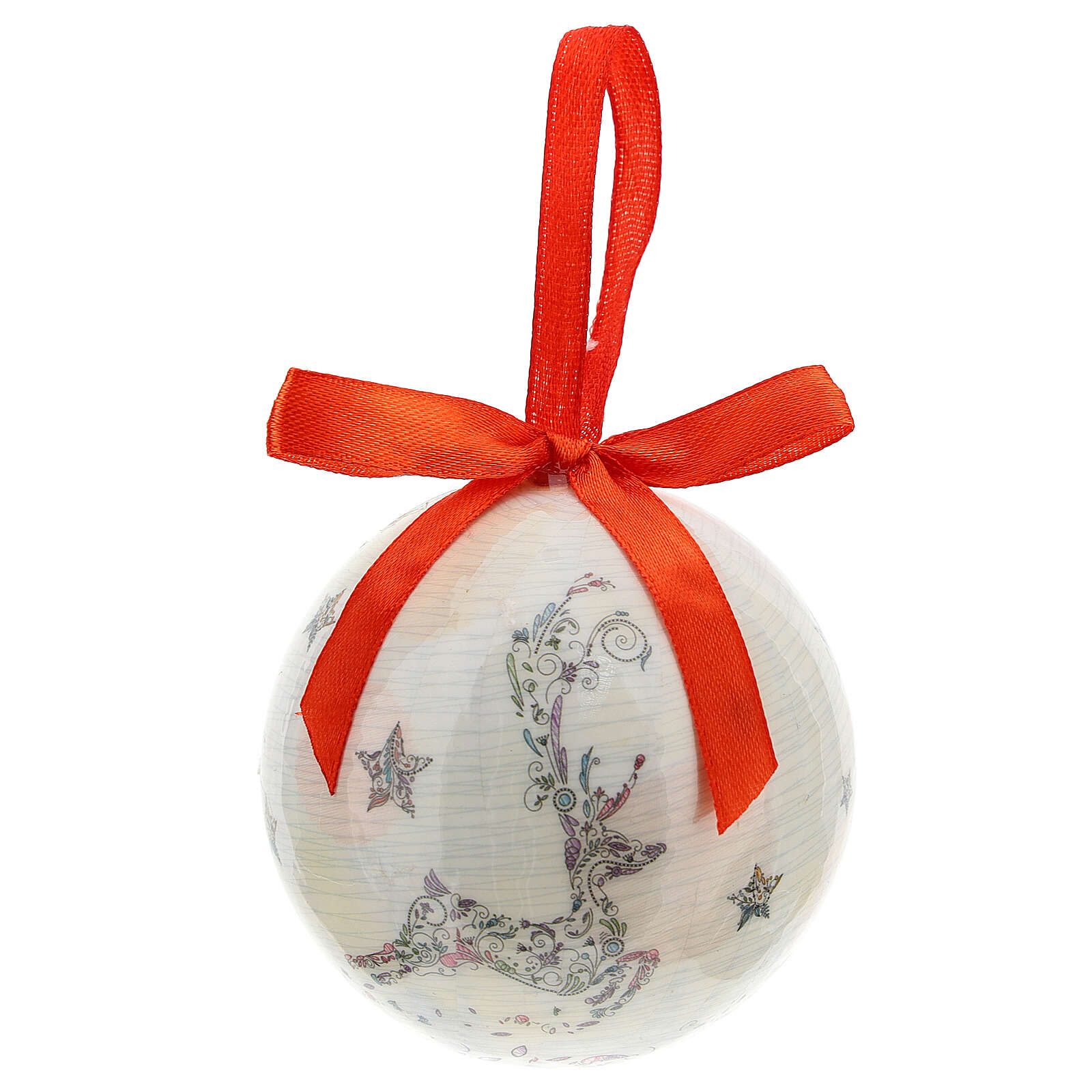 White Christmas ball 75 mm with floral decor (assorted) 4