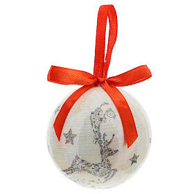 White Christmas ball 75 mm with floral decor (assorted) s1