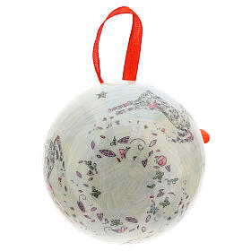 White Christmas ball 75 mm with floral decor (assorted) s5