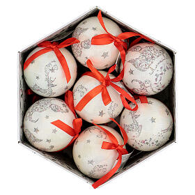 White Christmas ball 75 mm with floral decor (assorted) s6
