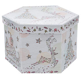 White Christmas ball 75 mm with floral decor (assorted) s7