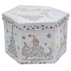 White Christmas ball 75 mm with floral decor (assorted) s8