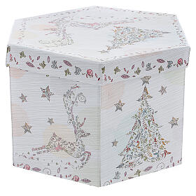 White Christmas ball 75 mm with floral decor (assorted) s9