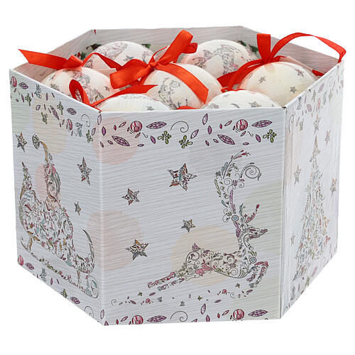 White Christmas ball 75 mm with floral decor (assorted) 2