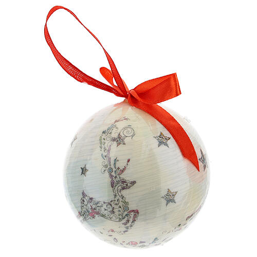 White Christmas ball 75 mm with floral decor (assorted) 3