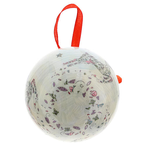 White Christmas ball 75 mm with floral decor (assorted) 5