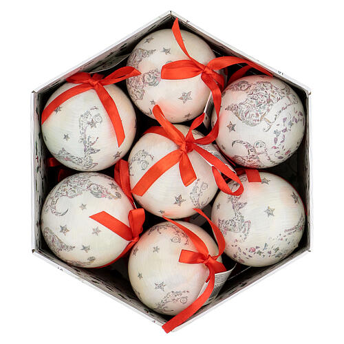White Christmas ball 75 mm with floral decor (assorted) 6