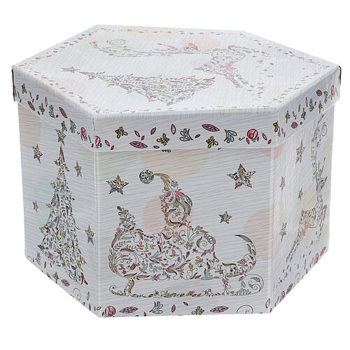 White Christmas ball 75 mm with floral decor (assorted) 8