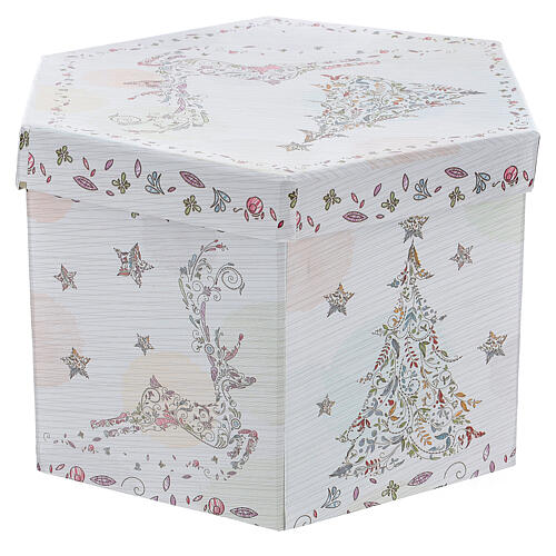 White Christmas ball 75 mm with floral decor (assorted) 9