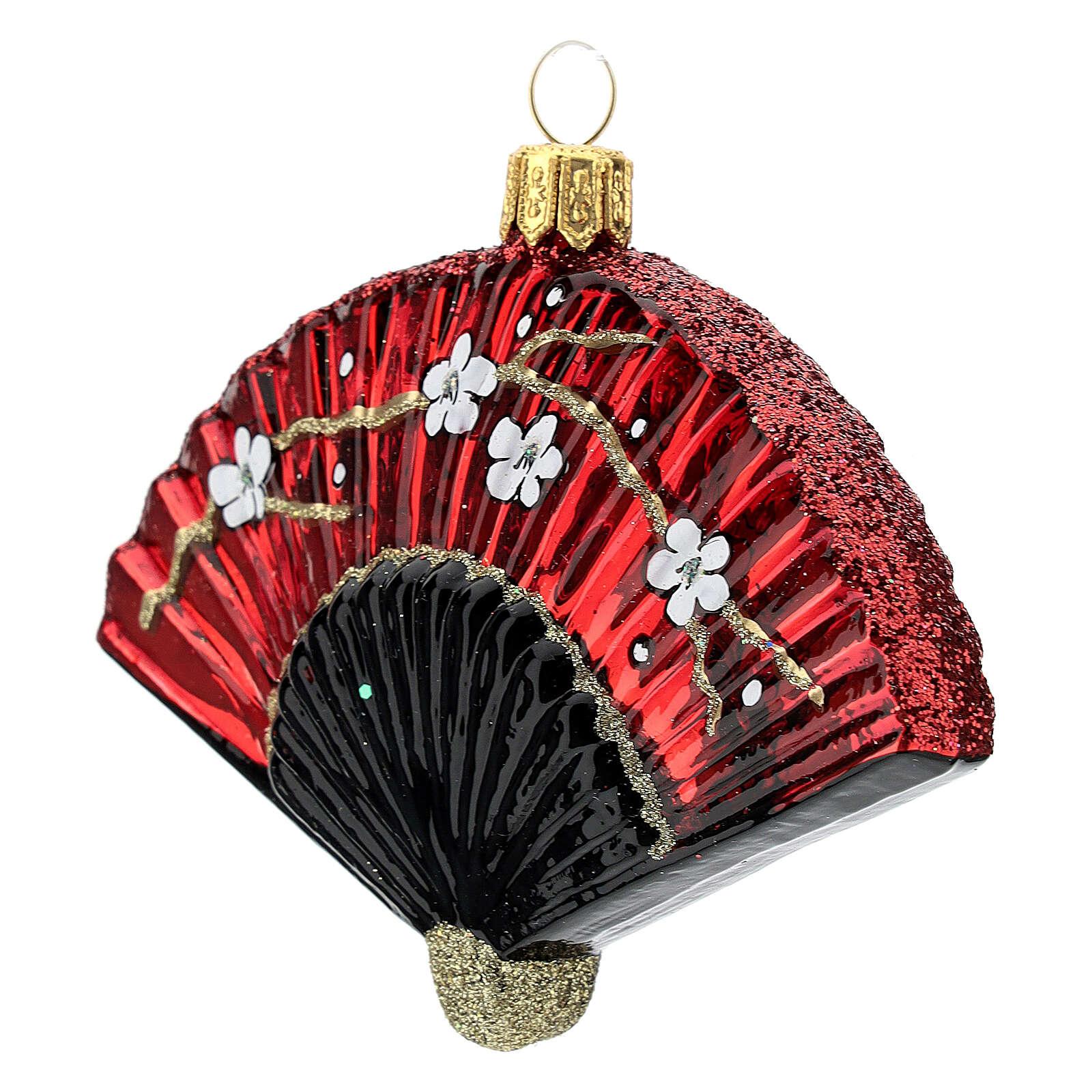 Leque japonês enfeite para árvore de Natal vidro soprado 4