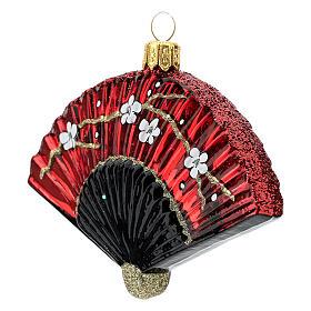Leque japonês enfeite para árvore de Natal vidro soprado s2