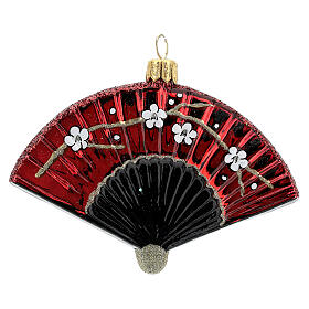 Blown glass Christmas ornament, Japanese fan s1