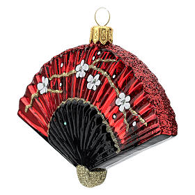Blown glass Christmas ornament, Japanese fan s2