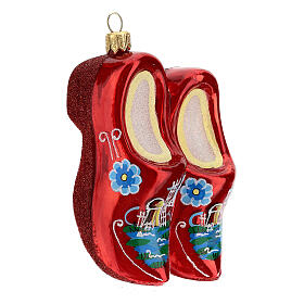 Blown glass Christmas ornament, wooden clogs s4