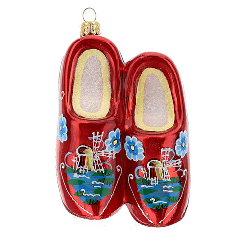 Blown glass Christmas ornament, wooden clogs 1